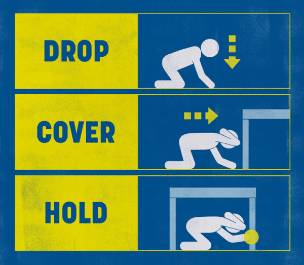 diagram showing drop cover hold actions